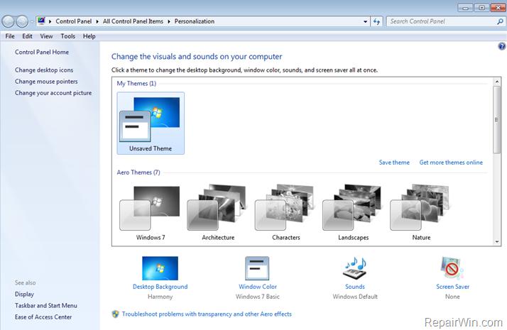 Reparar No se puede cambiar de tema - Los temas aeronáuticos se han oscurecido en Windows 7 (Resuelto)