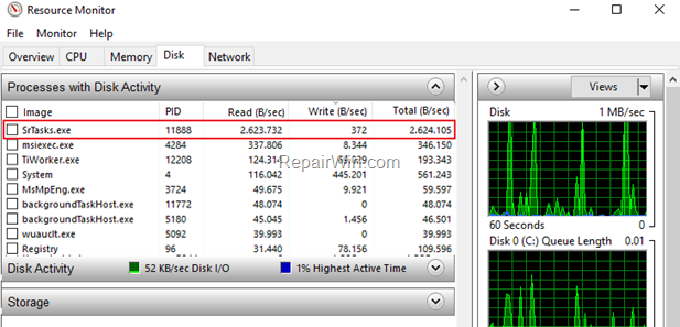 Reparar SrTasks.exe Problema de uso del disco duro (Resuelto)