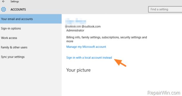 Cómo eliminar la cuenta de Microsoft en Windows 10/8.1