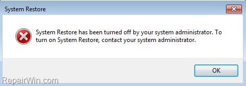 La Restauración del Sistema FIX ha sido desactivada por el administrador del sistema o la Política de Grupo.