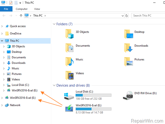 Reparar Unidades mostradas dos veces en el panel de navegación de Windows 10 (Resuelto)