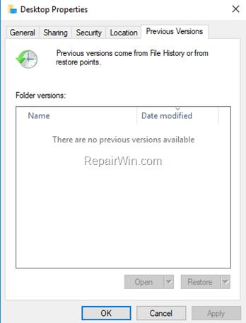 Reparar No hay versiones anteriores disponibles en Windows 10 (Resuelto)