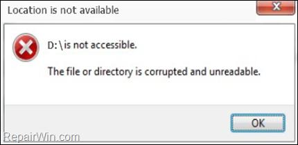 Reparar La ubicación no está disponible - El archivo o directorio está corrompido e ilegible (Resuelto)