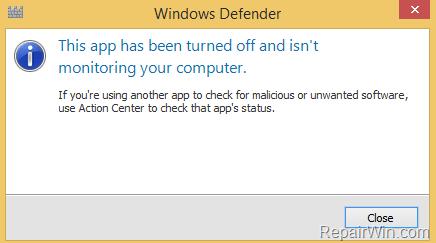 Cómo activar el antivirus Windows Defender en el sistema operativo Windows 10/8/7.