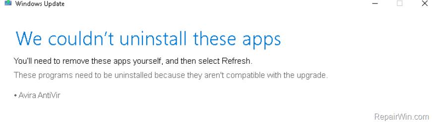 CORRECCIÓN: La actualización de Windows 10 no pudo desinstalar Avira AntiVir (Resuelto)