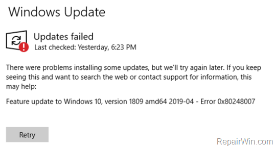 CORREGIDO: Error 0x80248007 en la actualización de Windows 10 (Resuelto)