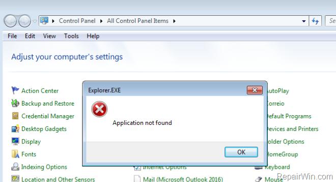 Reparar Aplicación no encontrada en el elemento del Panel de Control de Mail. (Resuelto)