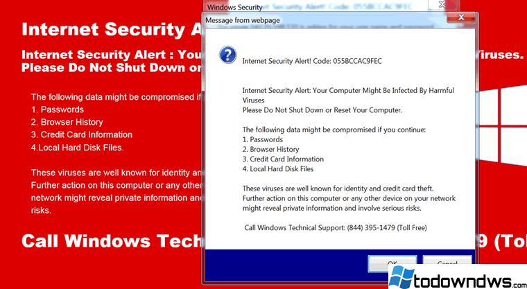 Cómo eliminar el código de alerta de seguridad de Internet 055BCCAC9FEC SCAM Message.