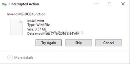 Función MS-DOS inválida mientras se copian archivos (Resuelto)