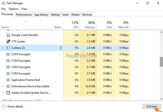 Reparar La búsqueda en Windows 10 no funciona (Resuelto)