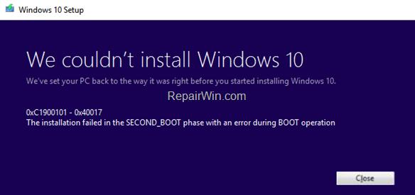 FIX 0xC1900101 - 0x40017: La instalación falló en la fase SEGUNDA_BOT en la actualización de Windows 10. (Resuelto)