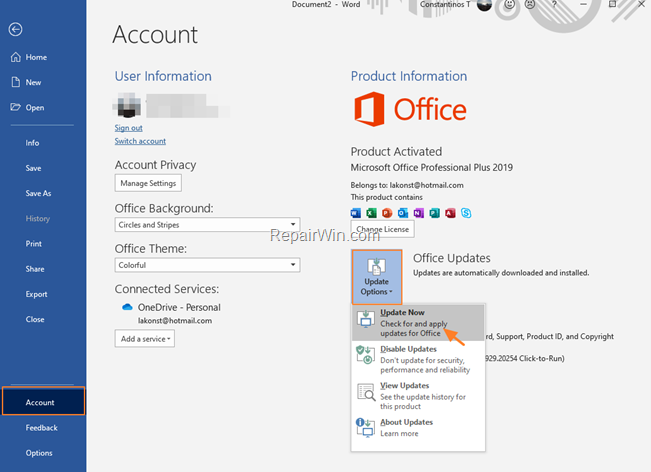 Cómo buscar actualizaciones en Office 2019, 2016 o 2013 en Windows 10.