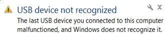 Error no reconocido del dispositivo USB (SOLVADO)