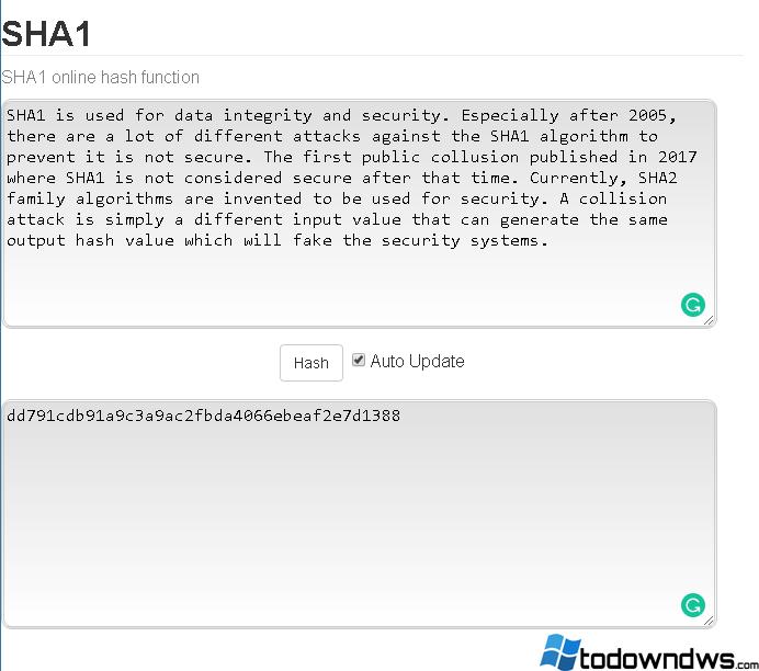 Tutorial del algoritmo Hash del SHA1 con ejemplos de uso